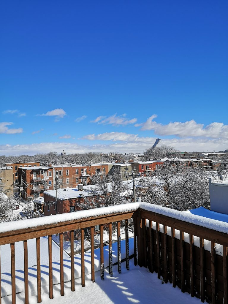 vue de notre balcon enneigé
